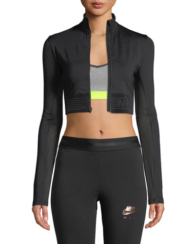 Pro Long-Sleeve Cropped Zip-Front Top