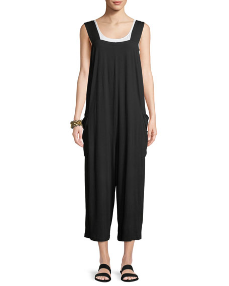 Wide-Strap Cropped Viscose Jersey Jumpsuit