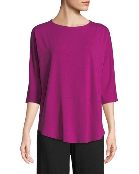 Eileen Fisher 3/4-Sleeve Bateau-Neck Jersey Top, Petite