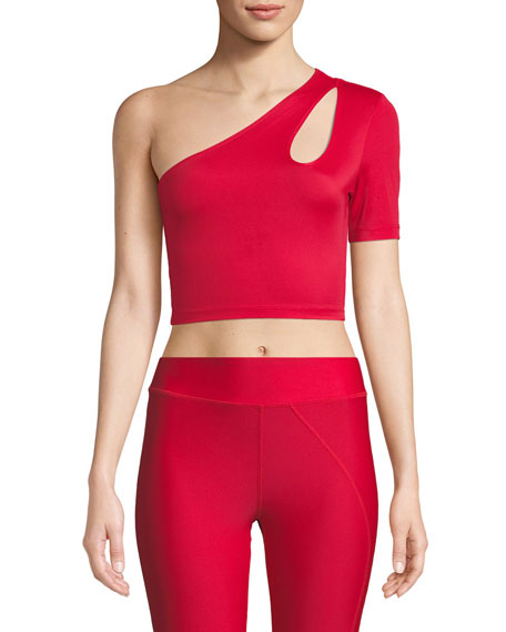 Cushnie Et Ochs Binx One-Shoulder Cutout Crop Top