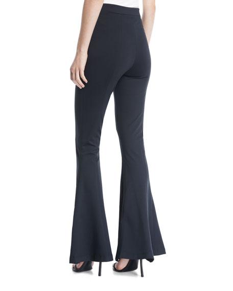 Dree High-Waist Zipper Flare-Leg Pants