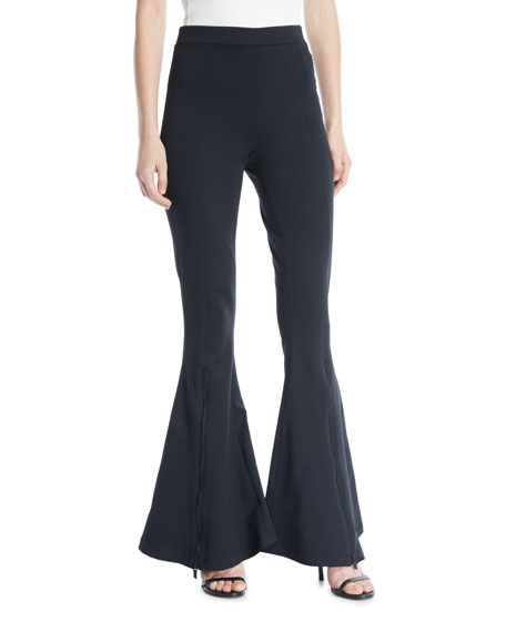 Cushnie Et Ochs Dree High-Waist Zipper Flare-Leg Pants