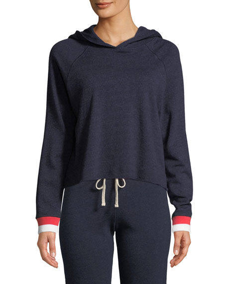 Sundry Cropped Long-Sleeve Hooded Sweater