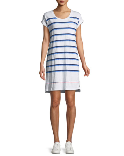Striped Roll-Sleeve Tee Dress