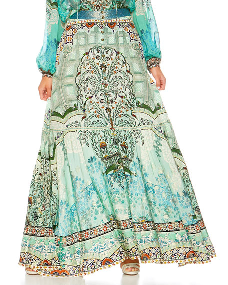 Camilla The Spirit Within Printed Peasant Maxi Skirt