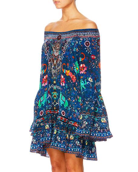 The Long Way Home Printed Flounce Mini Dress