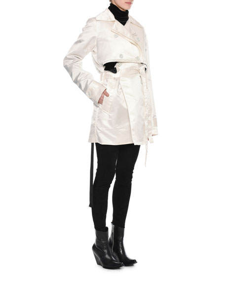 Double-Breasted Deconstructed Silk Trench Coat