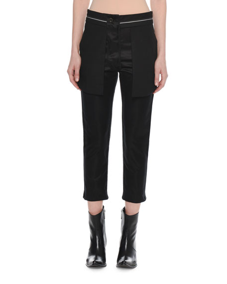 Reversed Straight-Leg Cropped Silk Trousers
