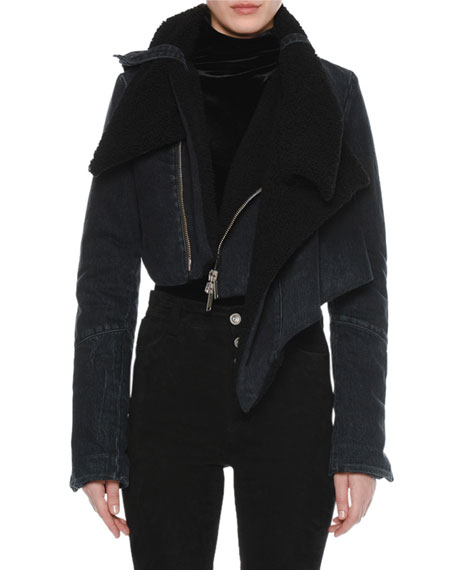 Ben Taverniti Unravel Project DECONSTRUCTED SHEARLING-LINED DENIM COAT