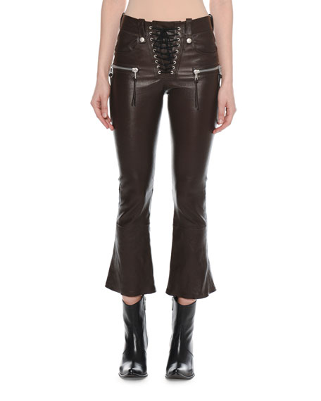 Lace-Up Flared-Leg Cropped Leather Pants