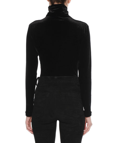 Turtleneck Long-Sleeve Velour Top