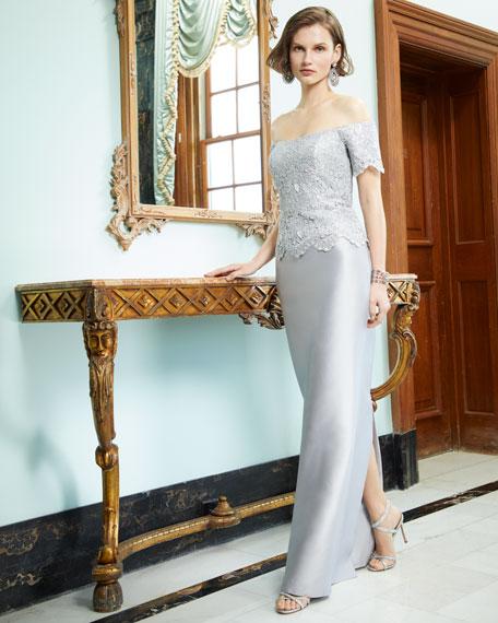 Gazar & Metallic Lace Off-the-Shoulder Column Gown