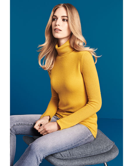 Mesh-Sleeve Cashmere Turtleneck Sweater