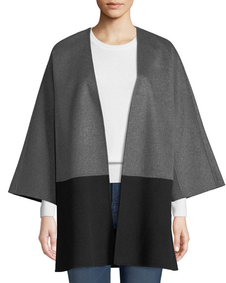 Luxury Double-Faced Two-Tone Cashmere Topper