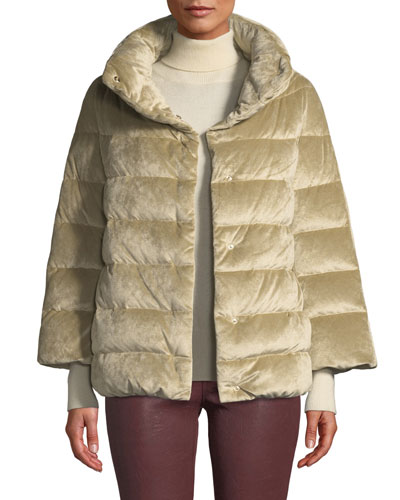Velvet Down-Filled Puffer Cocoon Coat