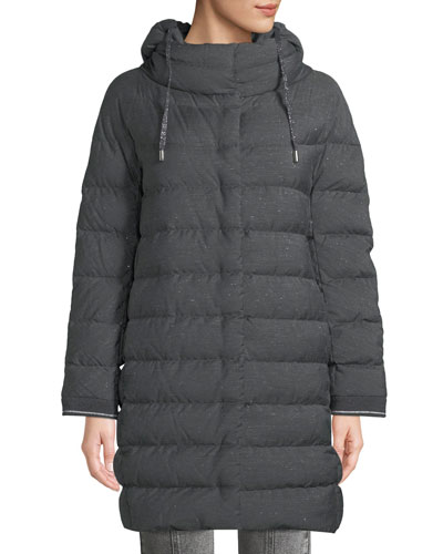 Long Melange Cocoon Puffer Coat