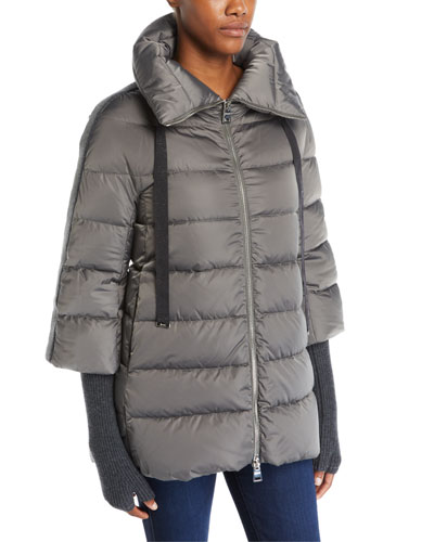 Satin Channel-Quilted Down Puffer Coat
