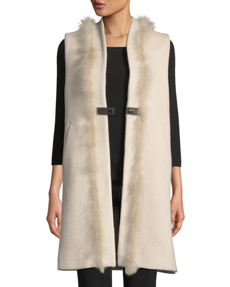 Long Wool-Blend Vest w/ Leather & Feathers