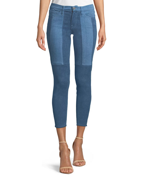 Cropped Two-Tone Stretch Skinny Jeans