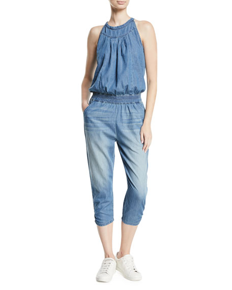Etienne Marcel Sleeveless Tie-Back Denim Romper