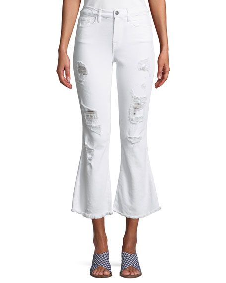 ETIENNE MARCEL Distressed Flare Cropped Denim Jeans in White