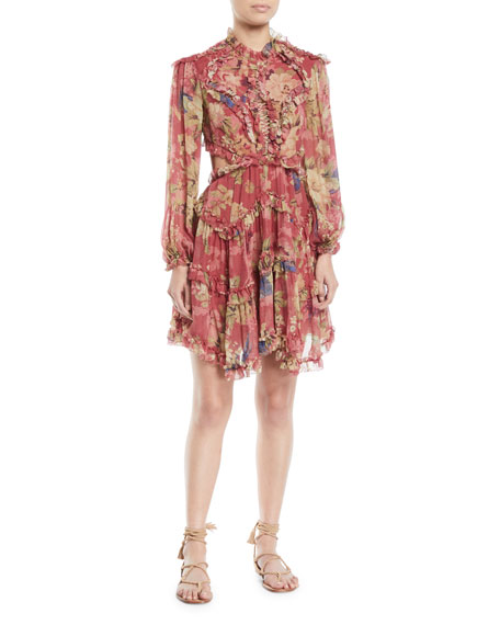 Womens Iris Floral Silk Open-Back Dress Zimmermann 5tYdvR