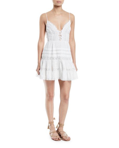 Iris Lace-Trim Sleeveless Mini Dress