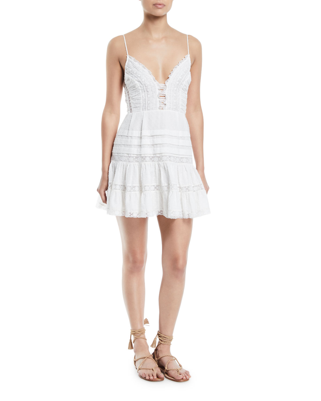 3a23f9746309 Zimmermann Iris Lace-Trim Sleeveless Mini Dress