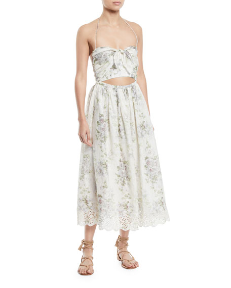 Zimmermann Iris Floral-Print Halter Cutout Midi Dress