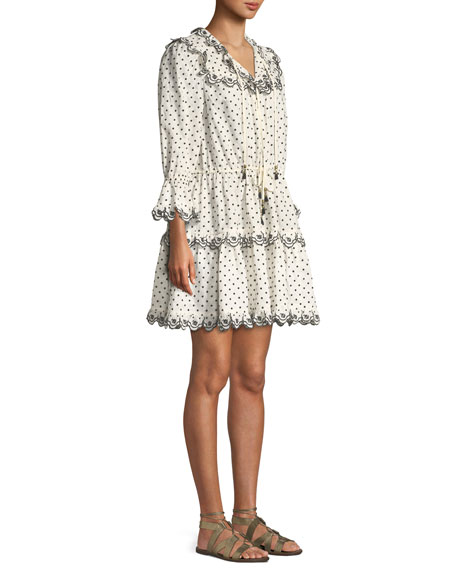 Jaya Dot-Print Scalloped Dress