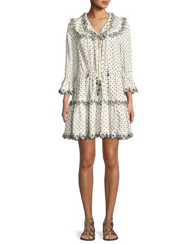 Jaya Dot-Print Scalloped Dress
