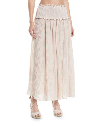 Bayou Smocked-Waist Shirred Maxi Skirt