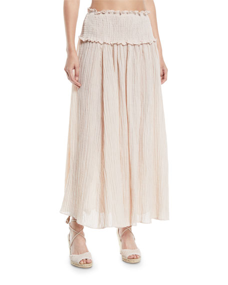 Bayou Smocked-Waist Shirred Maxi Skirt
