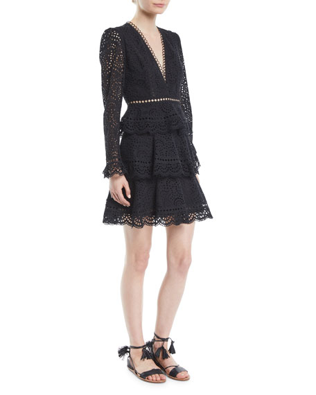 Tali Tiered Crochet-Trimmed Broderie Anglaise Cotton Mini Dress, Black