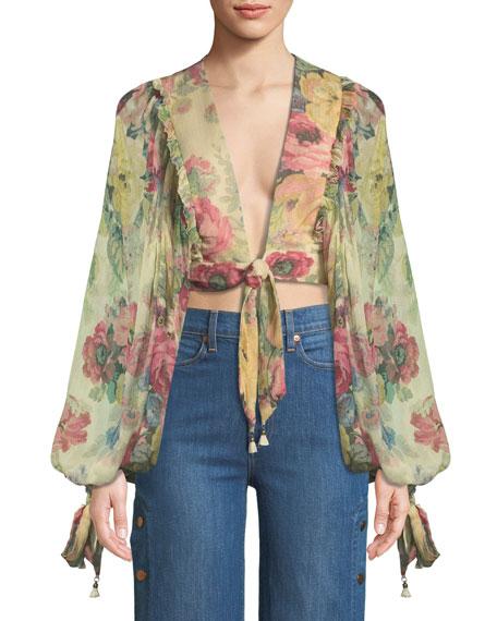 Melody Tie-Front Floral Crop Top