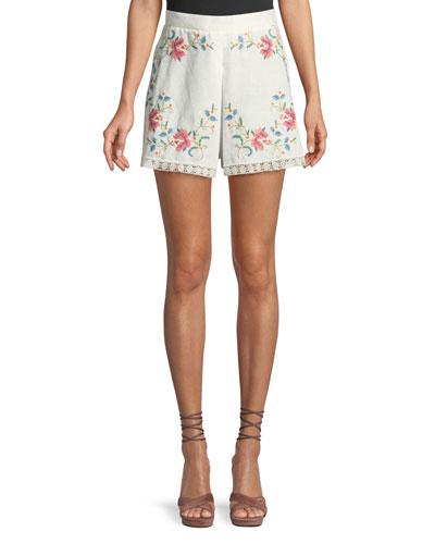 Laelia Cross-Stitch Floral Shorts