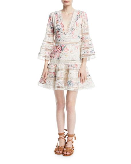 Laelia Diamond Flutter Eyelet V-Neck Mini Dress