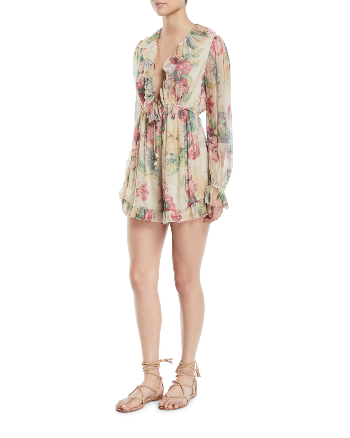 a406550e5d Zimmermann Melody Floating Floral-Print Ruffle Long-Sleeve Romper ...