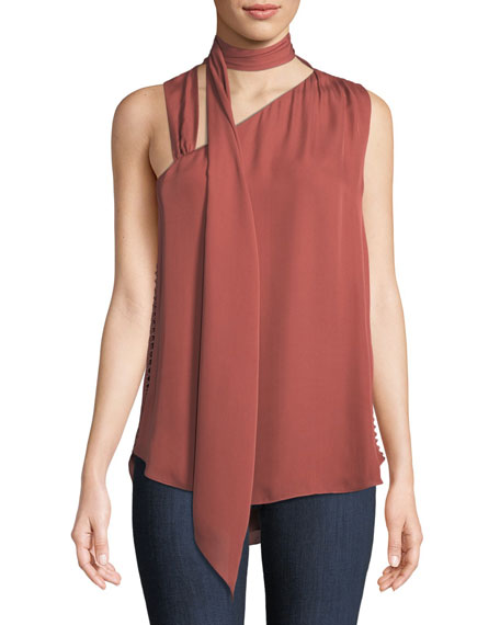 Golden Hour Tie-Neck Silk Tank Top