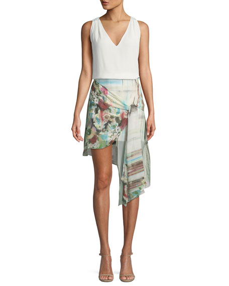 French Riviera Printed Wrap Mini Skirt