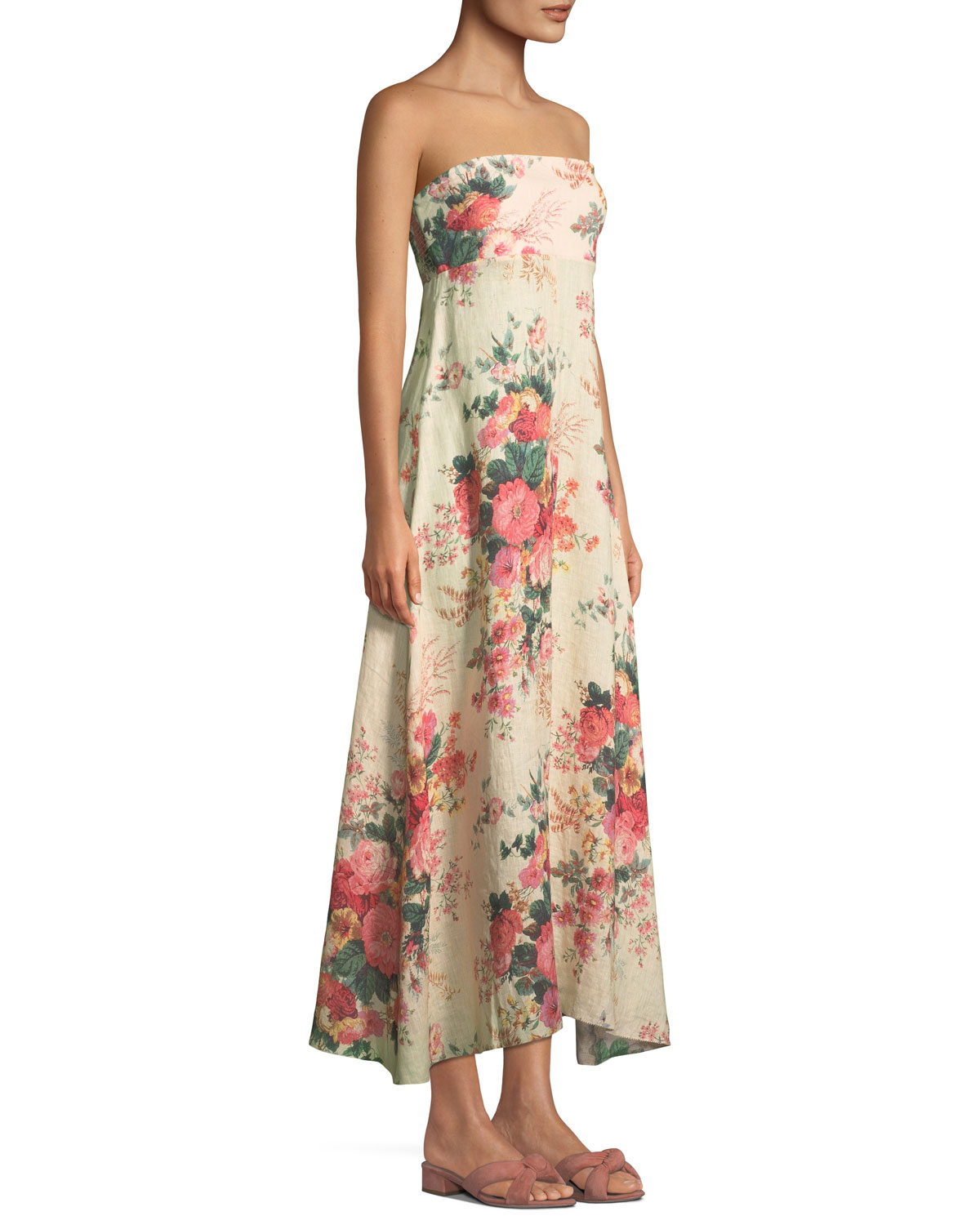 Melody Strapless Floral-Print Linen Maxi