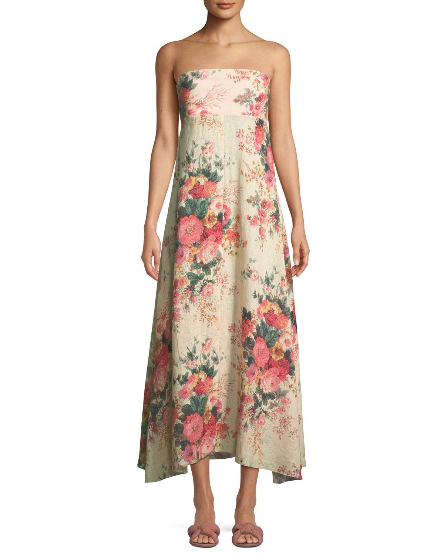 Strapless Floral-Print Linen Maxi Dress