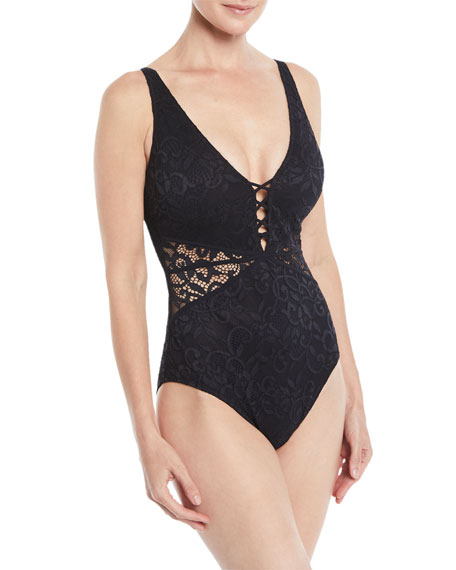 Profile by Gottex Shalimar Lace Cutout One-Piece Swimsuit