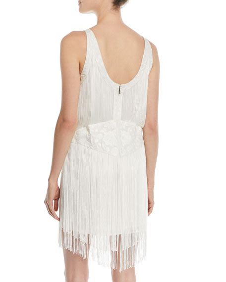 Grandeur Fringe Mini Cocktail Dress