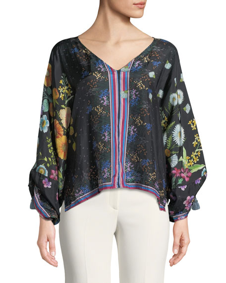 Forest Silk Georgette Long-Sleeve Blouse, Plus Size