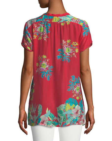 Short-Sleeve Flower Arch Button-Front Pintucked Blouse