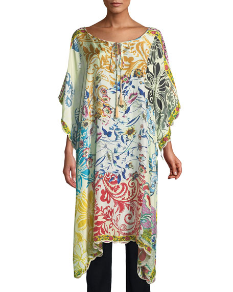 Johnny Was Damour Printed Silk Georgette Caftan
