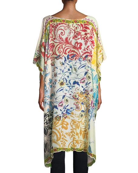 Damour Printed Silk Georgette Caftan, Plus Size