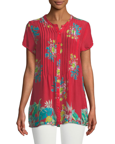 Short-Sleeve Flower Arch Button-Front Pintucked Blouse, Plus Size