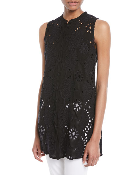 Johnny Was Marieta Sleeveless Long Eyelet Tunic, Plus